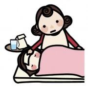 子供を看病する母親